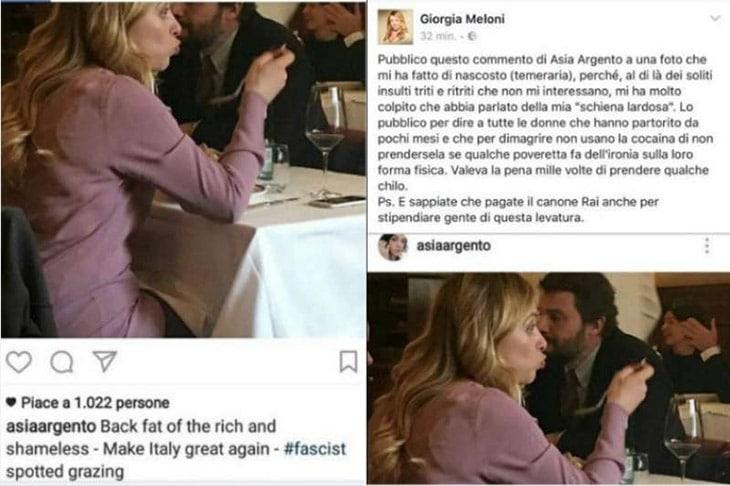Asia Argento e Giorgia Meloni, scambio di frecciate sui social